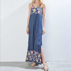 ef04a1644e1 Karen Kane Dresses - Karen Kane Denim Embroidered Maxi Dress